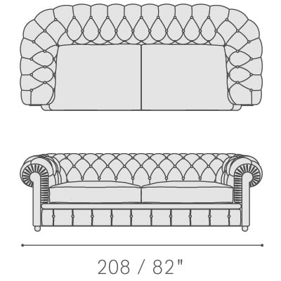 Three seater sofa with two seat cushions