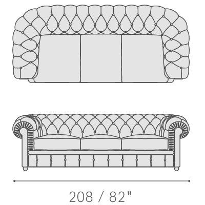 Three seater sofa with three seat cushions