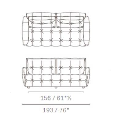 Due posti con cuscini schienale rettangolari