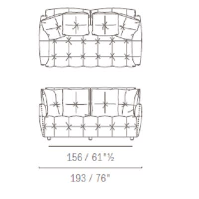 Two seater with squared backrest cushion