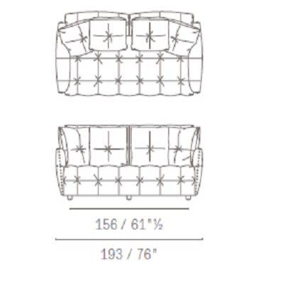 Due posti con cuscini schienale quadrati