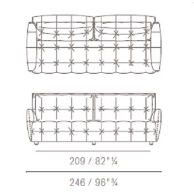 Due posti large con cuscini rettangolari