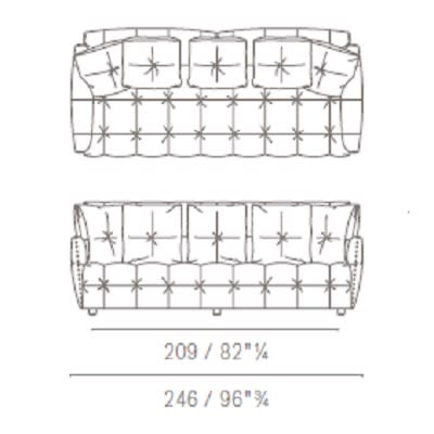 Two seater large with squared backrest cushion