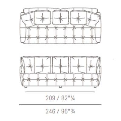 Due posti large con cuscini schienale quadrati