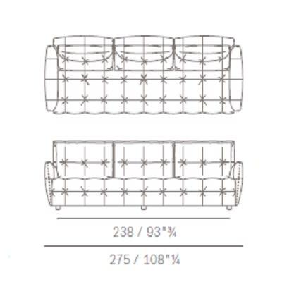 Three seater with rectangular backrest cushion