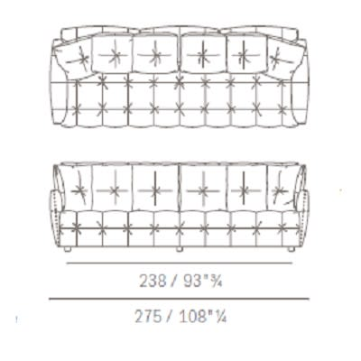 Three seater with squared backrest cushion