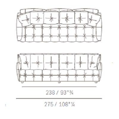 Tre posti con cuscini schienale quadrati
