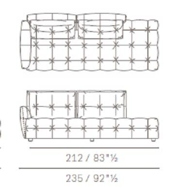 Due posti con panca e cuscini schienale rettangolari