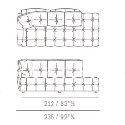 Due posti con panca e cuscini schienale quadrati