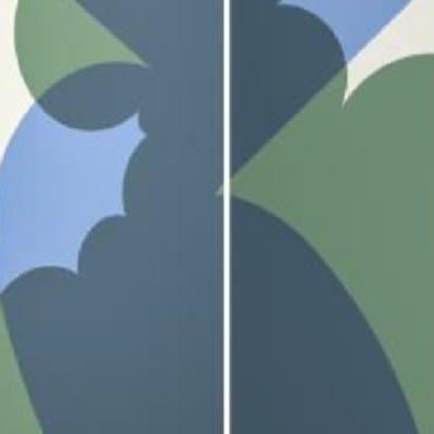 Sfondo bianco con fiori blu e verdi
