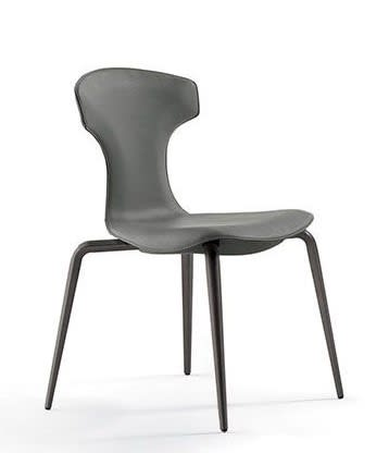 ONLY FOR STACKABLE CHAIR Conical metal legs with a blasted and burnished steel fi nish