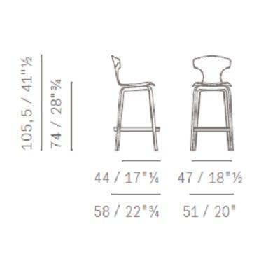 h 74 cm - wooden legs