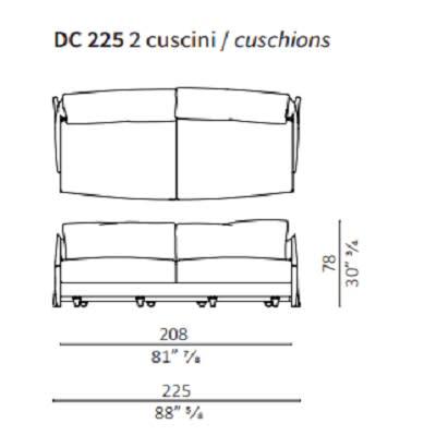225 cm - 2 backrest cushions