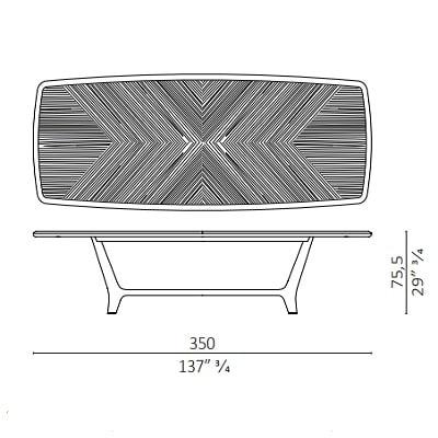 Retangular 350X125 cm