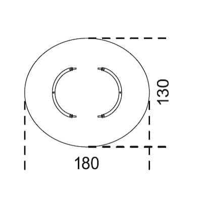 Oval 180x130 cm