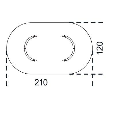 Oval 210x120 cm