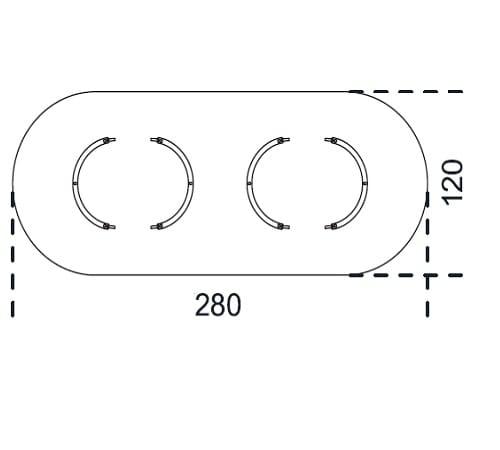 Oval 280x120 cm