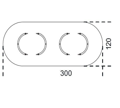Oval 300x120 cm