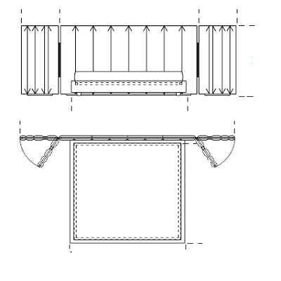Bed for mattress 180x200 (363x225xh135 cm)