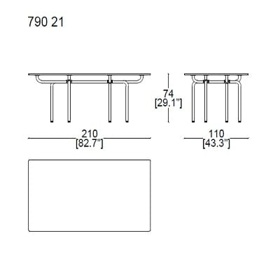 Rectangular 210x110xH74 cm