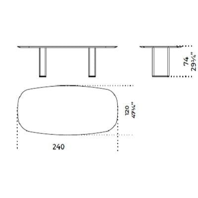 Oval 240x120 cm