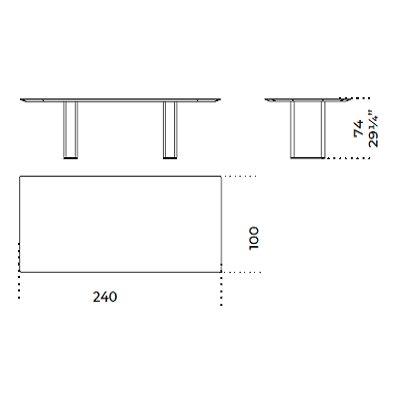 Rectangular 240x100 cm