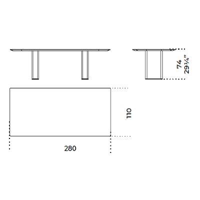 Rectangular 280x110 cm