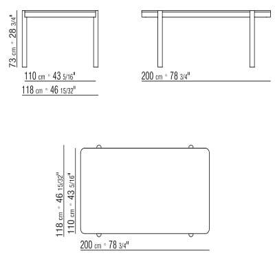 Rectangular 200x118xH73 cm