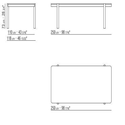 Rectangular 250x118xH73 cm