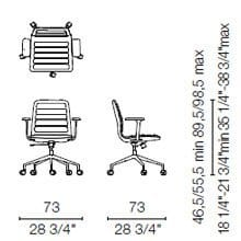 LS35 CBR(Base chair 5 spokes on castors with armrests)