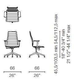 LSX45 CB(Base chair 5 spokes with armrests)