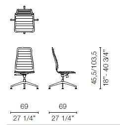 LSX45 CR(Base chair 5 spokes on castors)