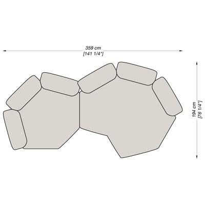 Angolare 5 359x194 cm