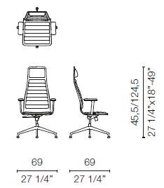 LSX5CB (Base chair 4 spokes with armrests)