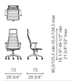 LSX55 CBR(Base chair 5 spokes on castors with armrests)