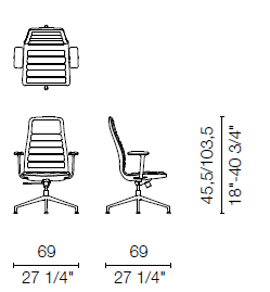 LS4CB(Base armchair 4 spokes with armrests)