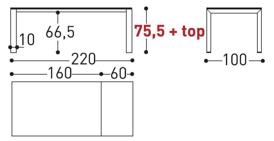 dolmen table dimensions