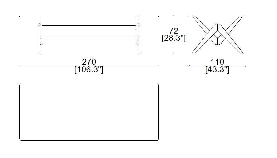 Cassina 056 Capitol Complex table sizes