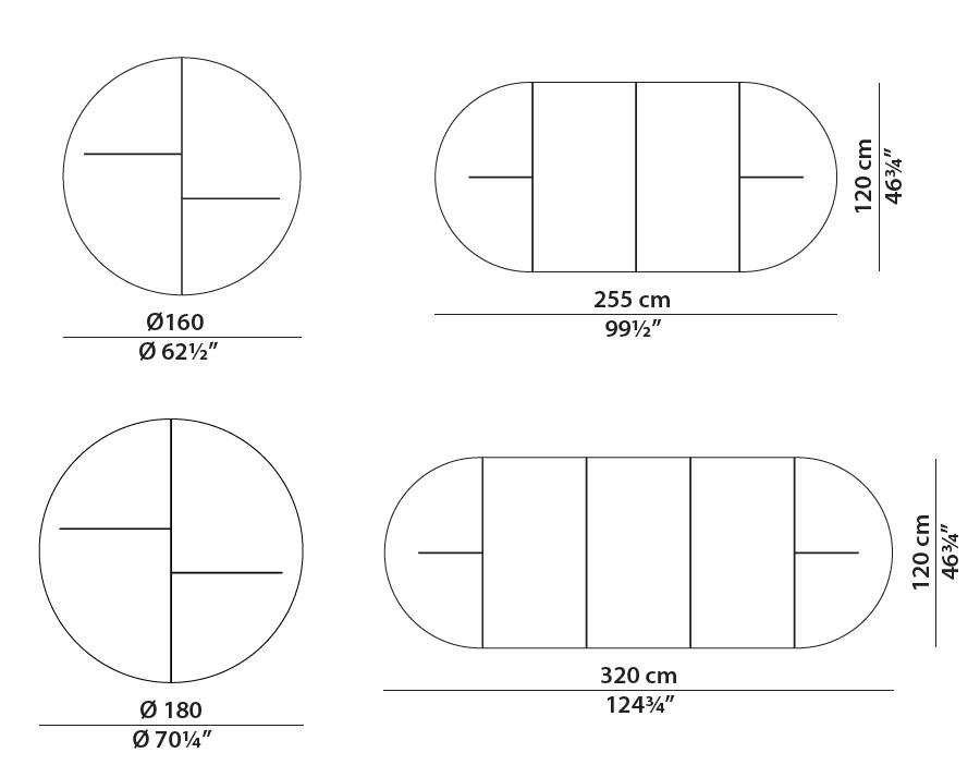 baxter placè table dimensions