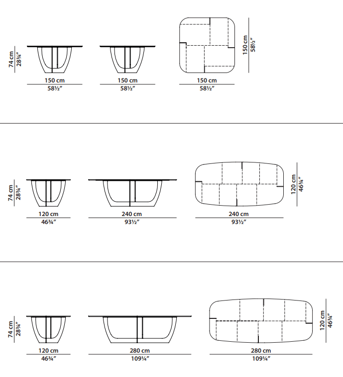 Baxter Romeo table dimensions