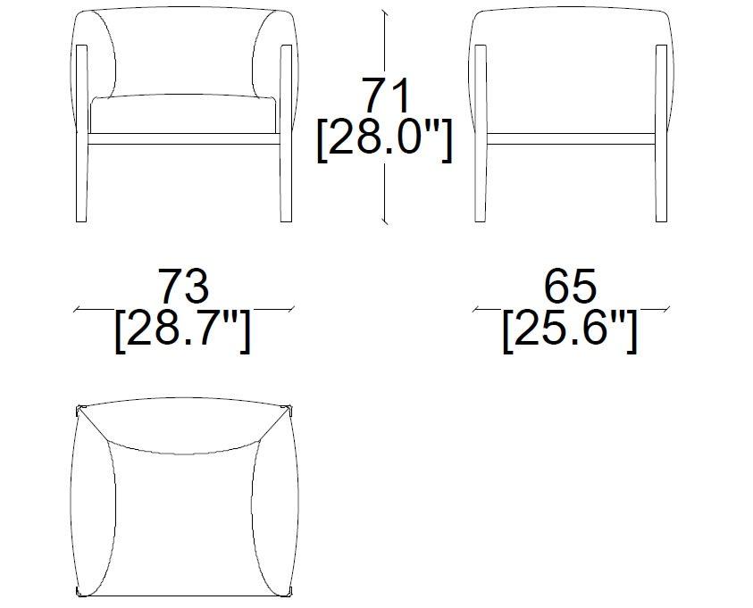 cassina-144-cotone-armchair-sizes