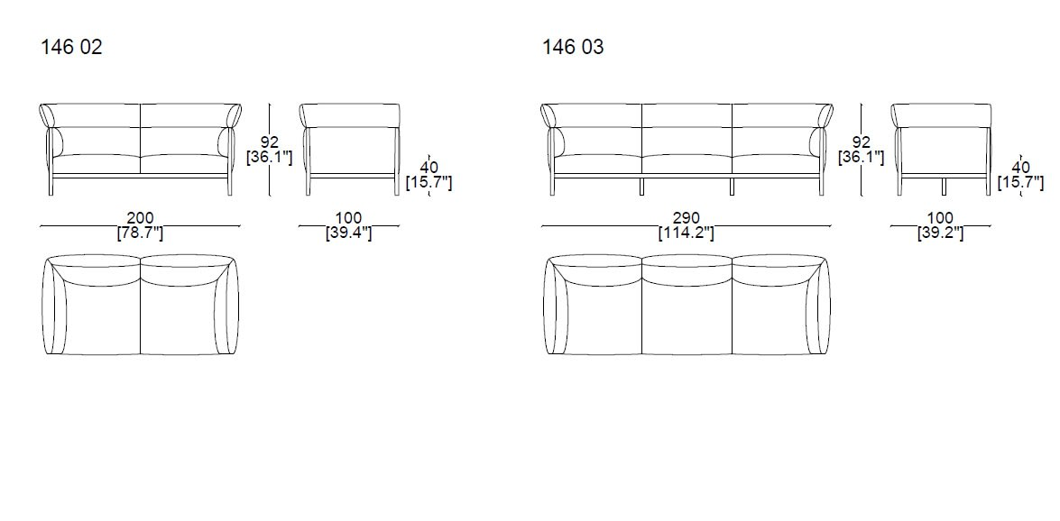 Cassina-146 Cotone-High-Sofa-size