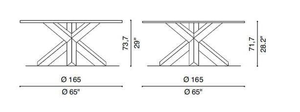 cassina 452 la rotonda table dimensions