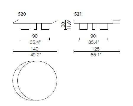 cassina accordo coffee table dimensions