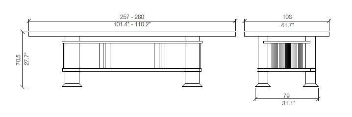 cassina allen table dimensions