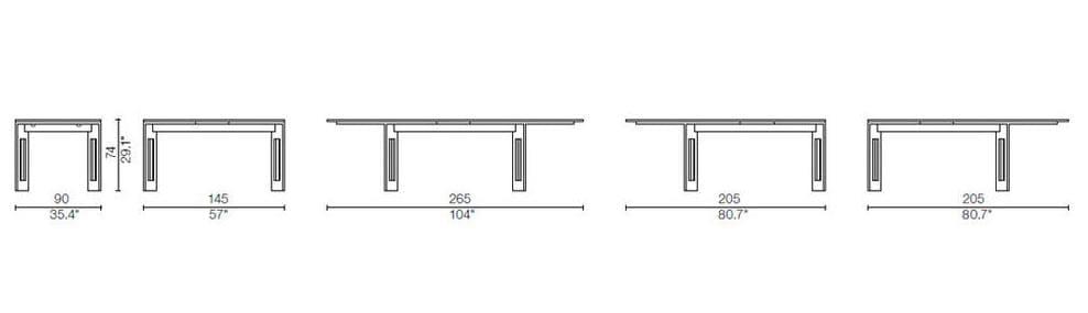 cassina berlino table dimensions