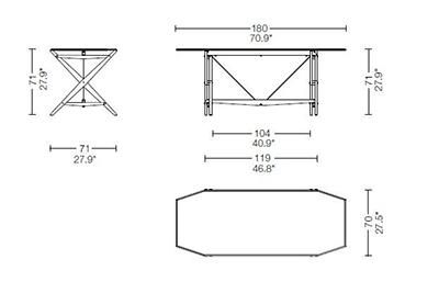 cassina cavalletto table dimensions