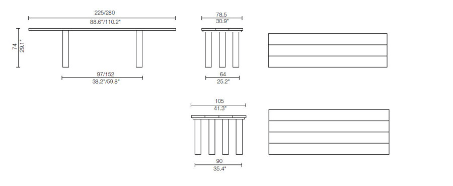 cassina la basilica table dimensions