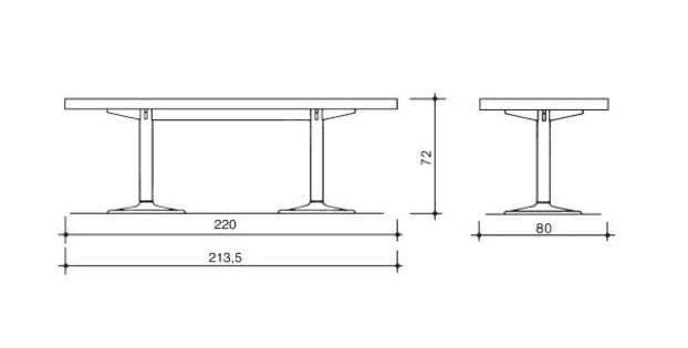 cassina lc11p table dimensions