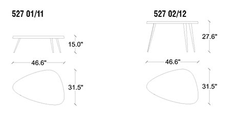 cassina mexique coffee table dimensions
